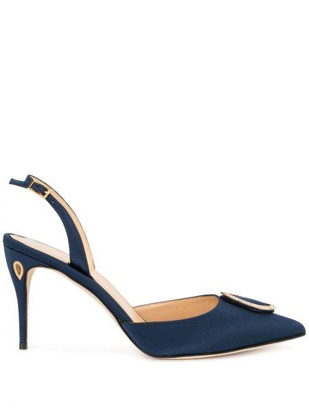 Золотистые желтые туфли на каблуке с открытой пяткой с пряжкой Jennifer Chamandi