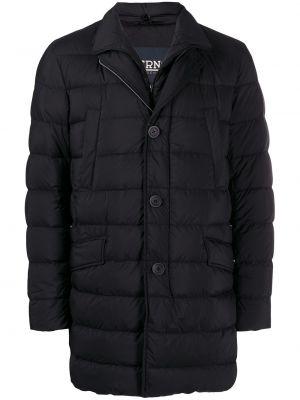 Черное прямое стеганое длинное пальто на молнии Herno
