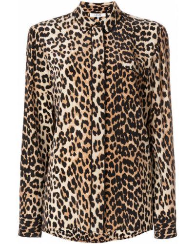 Классическая рубашка с длинным рукавом леопардовая Ganni