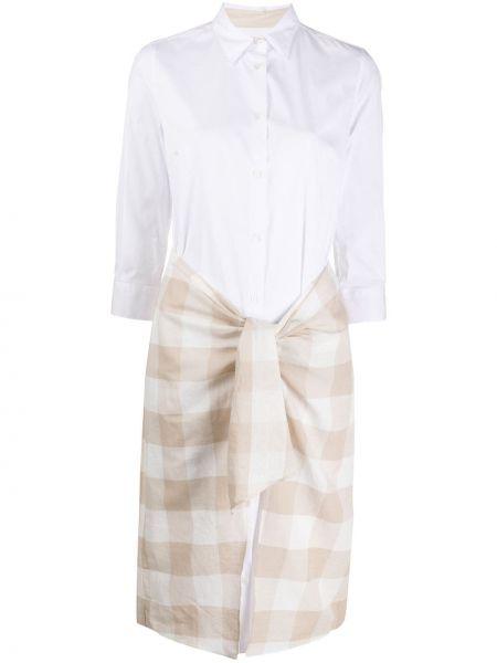 Белое классическое платье миди на пуговицах с воротником Sara Roka