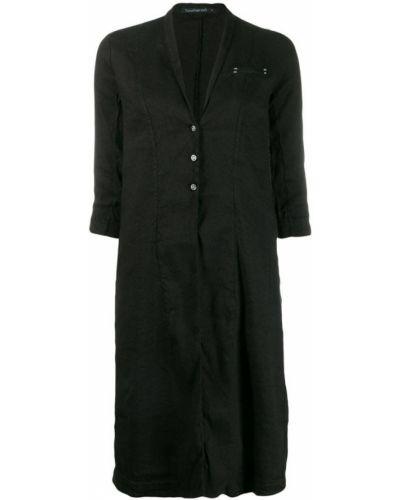 Черное пальто с капюшоном на пуговицах Transit