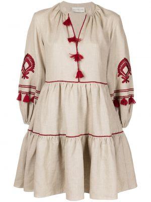 Beżowa lniana sukienka długa z długimi rękawami Sachin & Babi