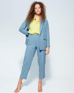 Синий костюмный пиджак с воротником из вискозы Mango