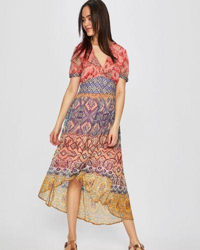 Платье миди прямое с V-образным вырезом Desigual