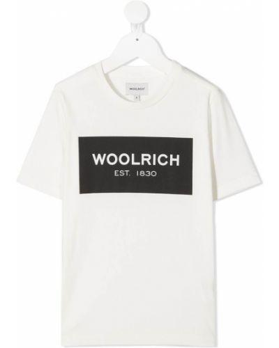 Прямая хлопковая белая рубашка с короткими рукавами Woolrich Kids
