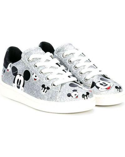 Белые кеды металлические на шнурках Moa Kids