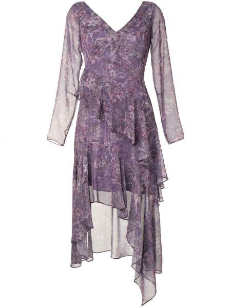 Платье миди с длинными рукавами - фиолетовое Marchesa Notte