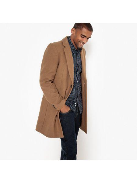 Шерстяное длинное пальто с воротником на пуговицах с подкладкой La Redoute Collections