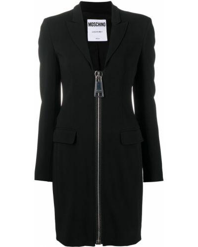 Черное платье макси с длинными рукавами с V-образным вырезом Moschino