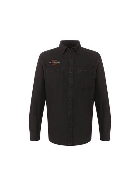 Хлопковая черная рубашка с карманами с камнями Harley Davidson