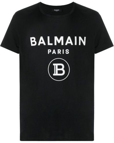 Czarna podkoszulka bawełniana z printem Balmain