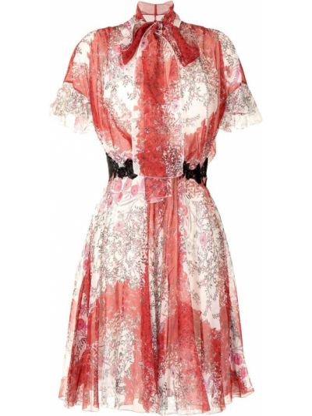 С рукавами шелковое платье мини в цветочный принт Giambattista Valli