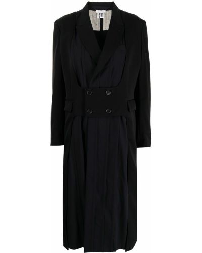 Шерстяное черное длинное пальто двубортное Comme Des Garçons Noir Kei Ninomiya