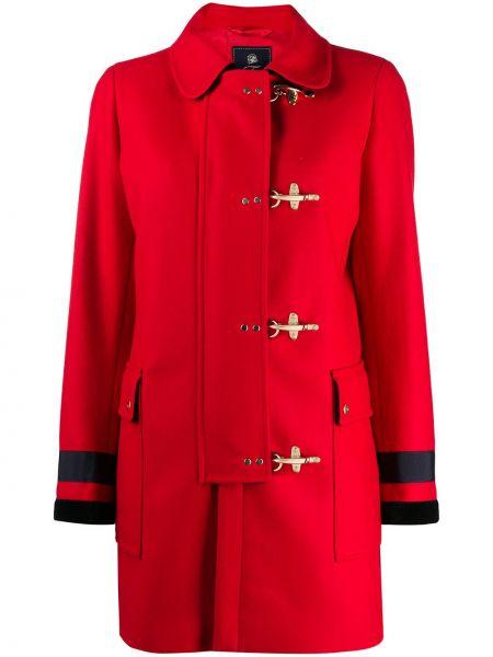 Приталенное шерстяное длинное пальто с воротником с накладными карманами Fay