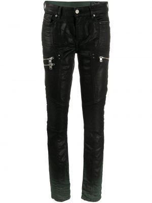 Zawężony klasyczny czarny klasyczne spodnie z paskiem Diesel