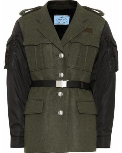 Шерстяная куртка - зеленая Prada
