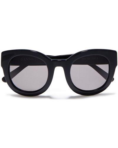 Черные солнцезащитные очки круглые Ganni