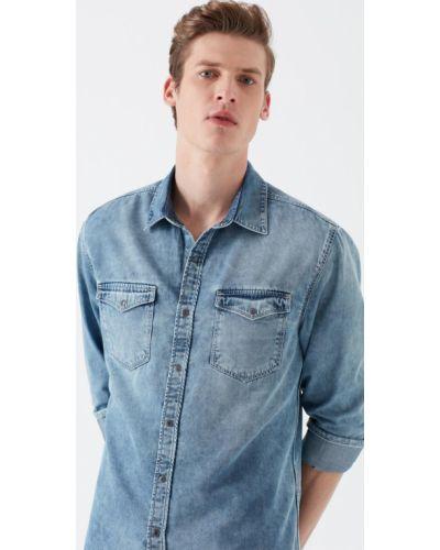 Хлопковая синяя джинсовая рубашка с карманами Mavi