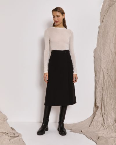 Черная юбка миди трапеция из вискозы 12storeez