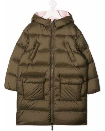 Зеленое пуховое пальто классическое с капюшоном Il Gufo