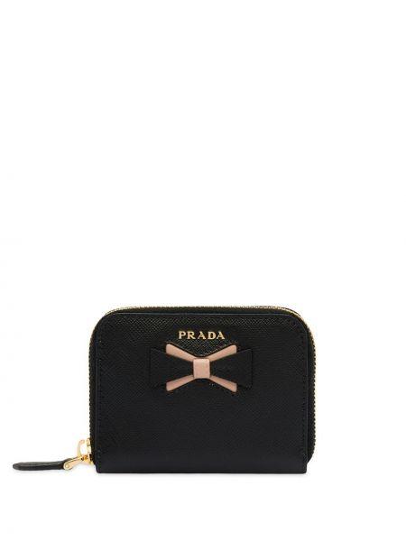 Czarny portfel skórzany do pracy Prada