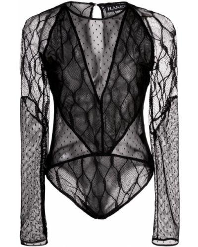 Боди с длинными рукавами прозрачное в горошек Haney
