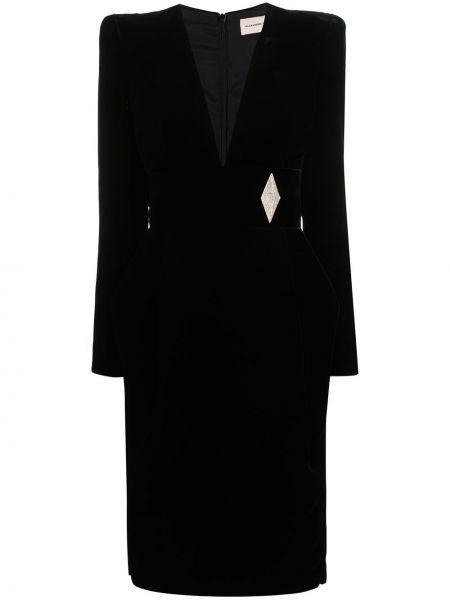 Черный приталенный удлиненный пиджак на молнии Alexandre Vauthier