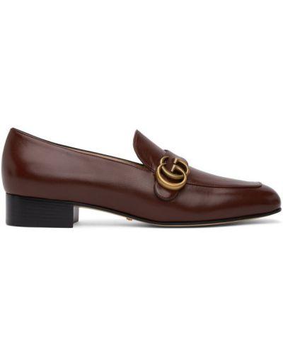 Кожаные бежевые лоферы на каблуке Gucci