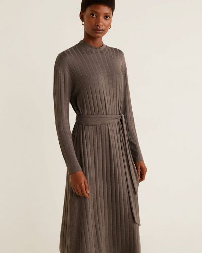 Платье миди с поясом с длинными рукавами Mango