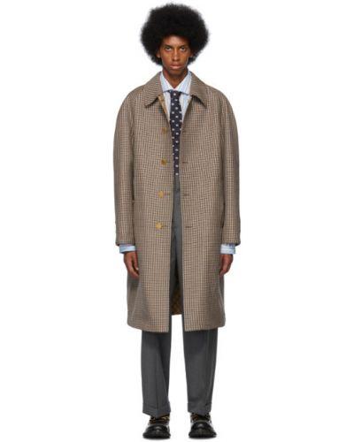Wełniany długi płaszcz z kołnierzem zapinane na guziki z kieszeniami Gucci