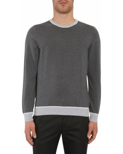 Prążkowany długi sweter bawełniany z długimi rękawami Hugo Boss