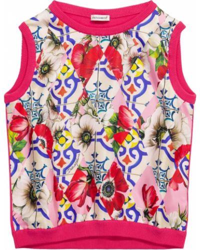 Różowa kamizelka bawełniana Dolce & Gabbana Kids