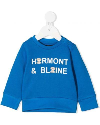 Ватный хлопковый с рукавами синий свитшот Harmont & Blaine Junior