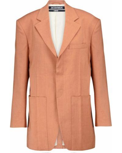 Оранжевый шерстяной пиджак с опушкой Jacquemus