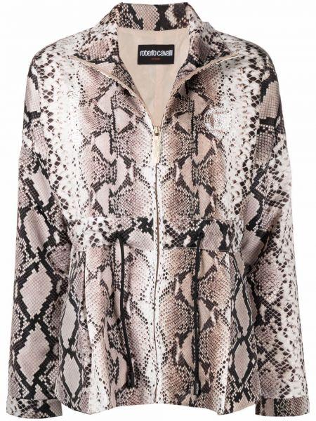 Длинная куртка с принтом с воротником на молнии Roberto Cavalli