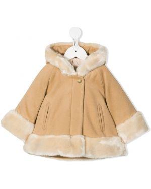 Brązowy płaszcz wełniany z długimi rękawami Chloé Kids