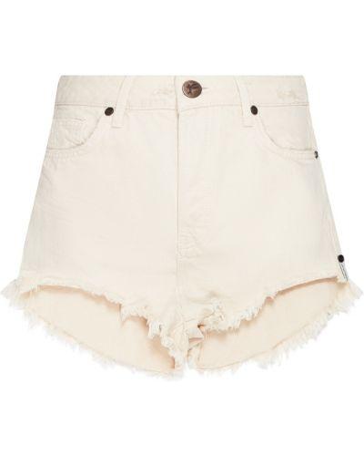 Хлопковые бежевые джинсовые шорты One Teaspoon