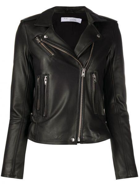 Прямая черная длинная куртка байкерская с карманами Iro