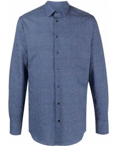 Хлопковая синяя с рукавами рубашка Giorgio Armani