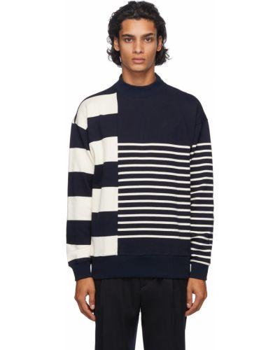 Beżowy długi sweter w paski bawełniany Nanamica