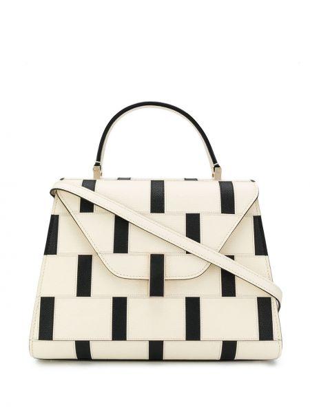 Кожаная белая кожаная сумка на молнии с карманами Valextra