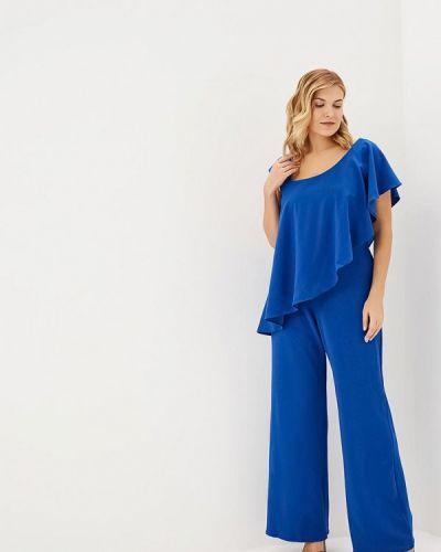 Синий брючный комбинезон Goddiva Size Plus