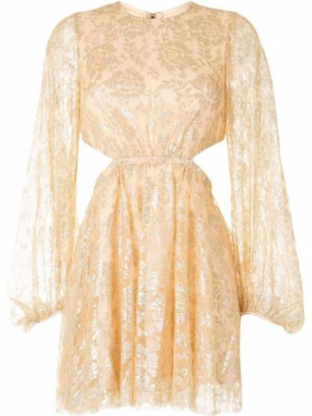 Нейлоновое желтое платье мини с вышивкой с вырезом Alice Mccall