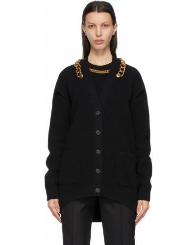 Czarny kardigan wełniany z długimi rękawami Givenchy