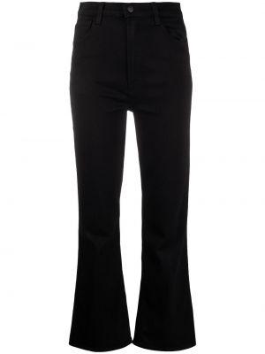 Черные расклешенные укороченные брюки с высокой посадкой из вискозы J Brand