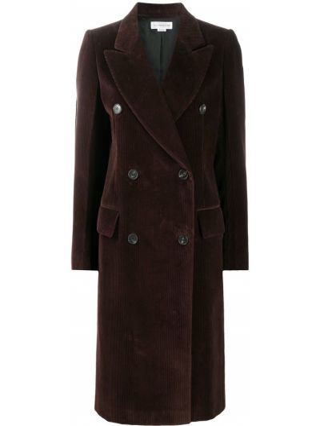 Коричневое пальто для полных двубортное Victoria Beckham