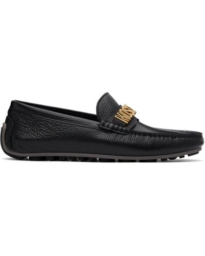 Czarne loafers na obcasie Moschino