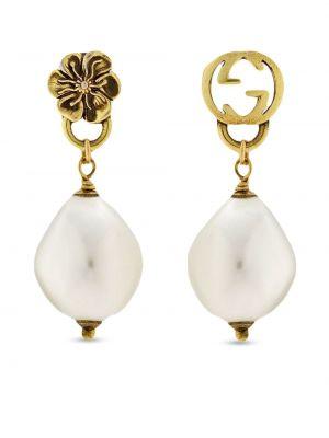 Białe złote kolczyki sztyfty perły Gucci