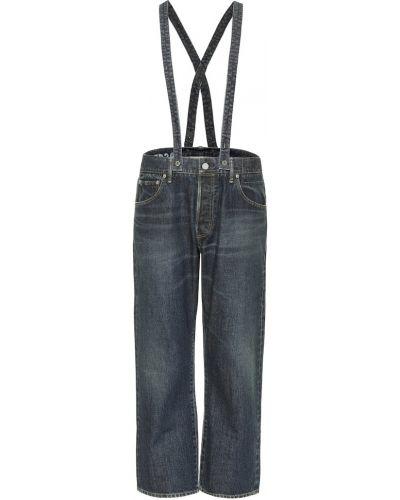 Ватные хлопковые синие прямые джинсы с опушкой Visvim