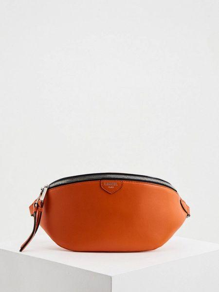 Оранжевая поясная сумка с помпоном из натуральной кожи Lancel